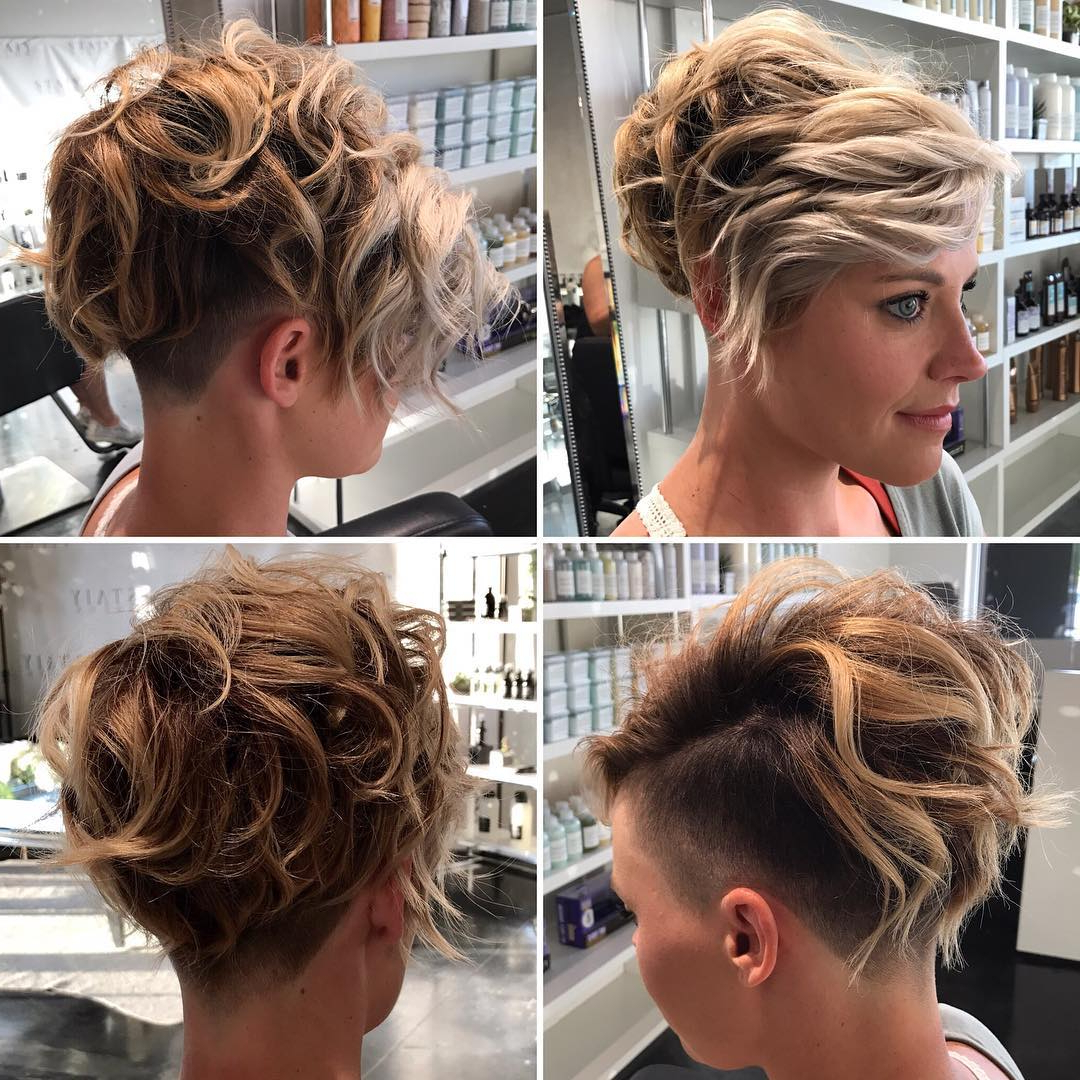 Current Undercut Pixie Hairstyles With Hair Tattoo Throughout Messy Wavy Textured Blonde Undercut Pixie – The Latest (View 14 of 20)