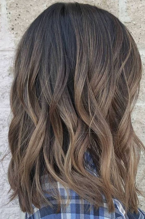 Dark Brown Mixed Balayage Color Ideas For Short Hairstyles Within Blonde Balayage On Short Dark Hairstyles (View 4 of 20)