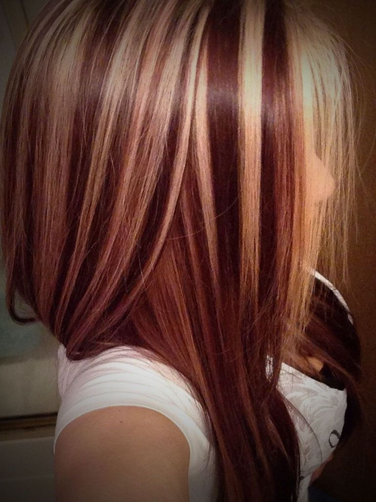 Dark Hair With Blonde And Red Highlights Dark Red Hair In Brown Blonde Sweeps Of Color Hairstyles (View 15 of 20)