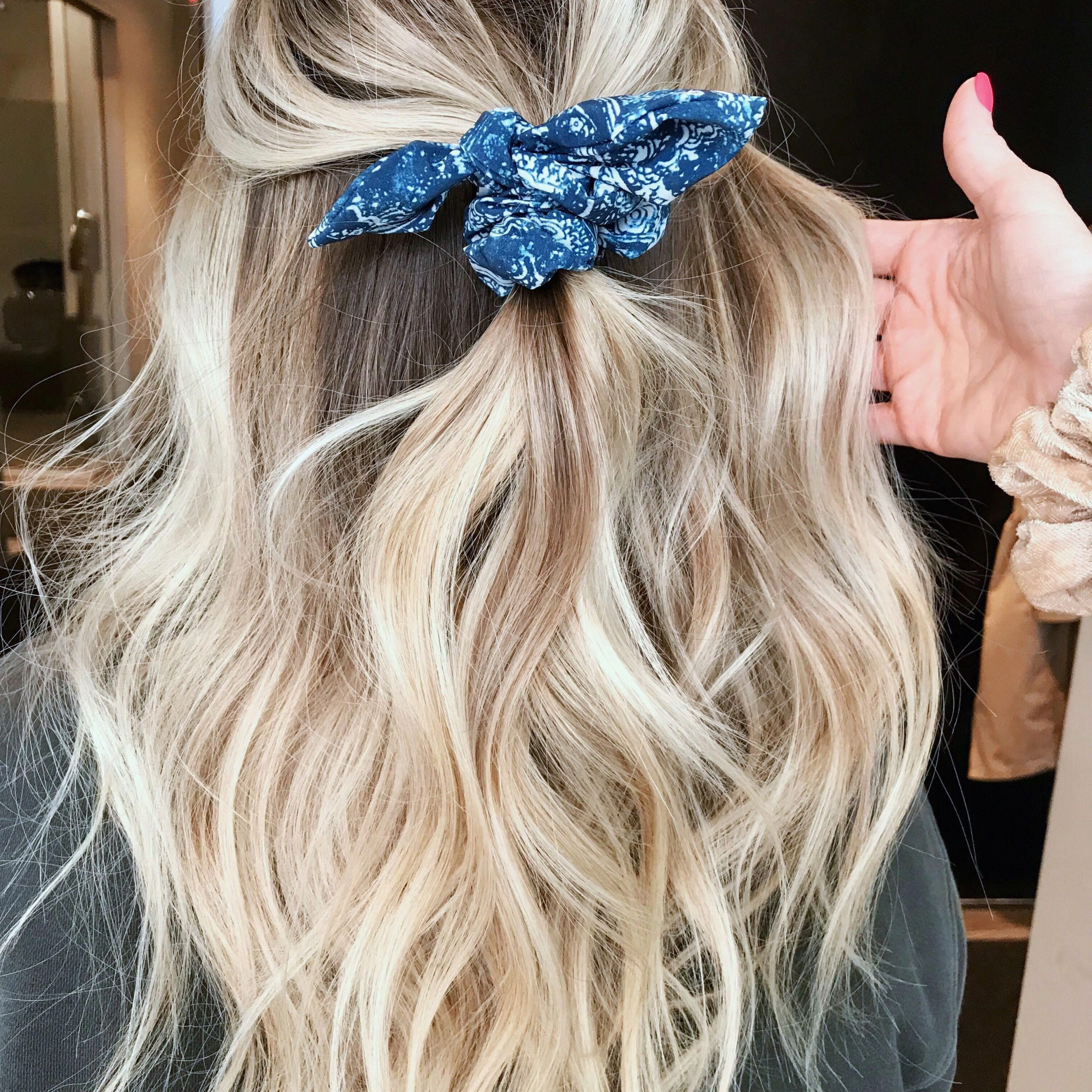 Easy Half Up On Blonde Hair With Scrunchie #ombrehair Pertaining To Well Known Scrunchie Hairstyles (View 9 of 20)