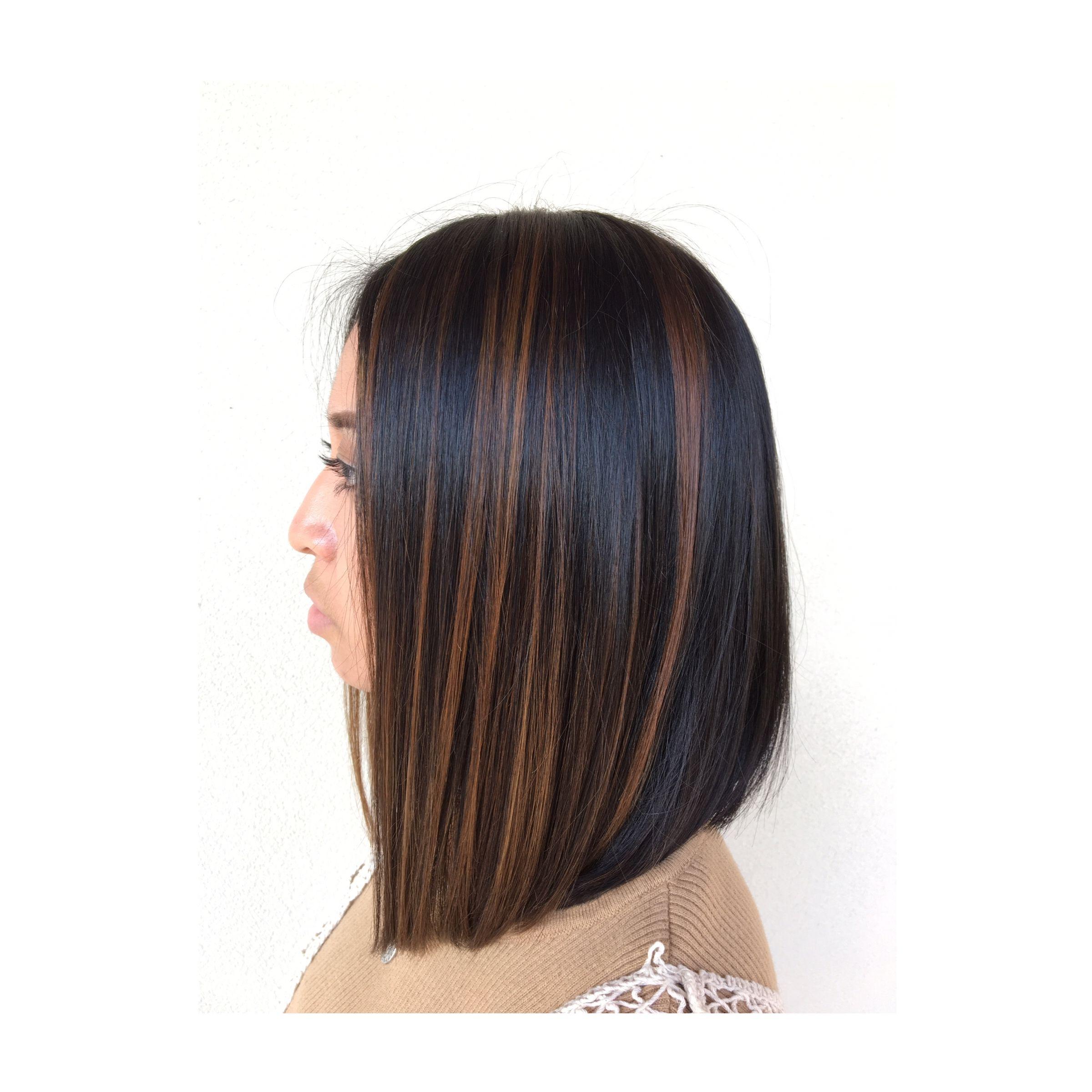 Face Frame Balayage + Angled Bob #caramel #lob #haircut With Regard To Warm Balayage On Short Angled Haircuts (View 15 of 20)