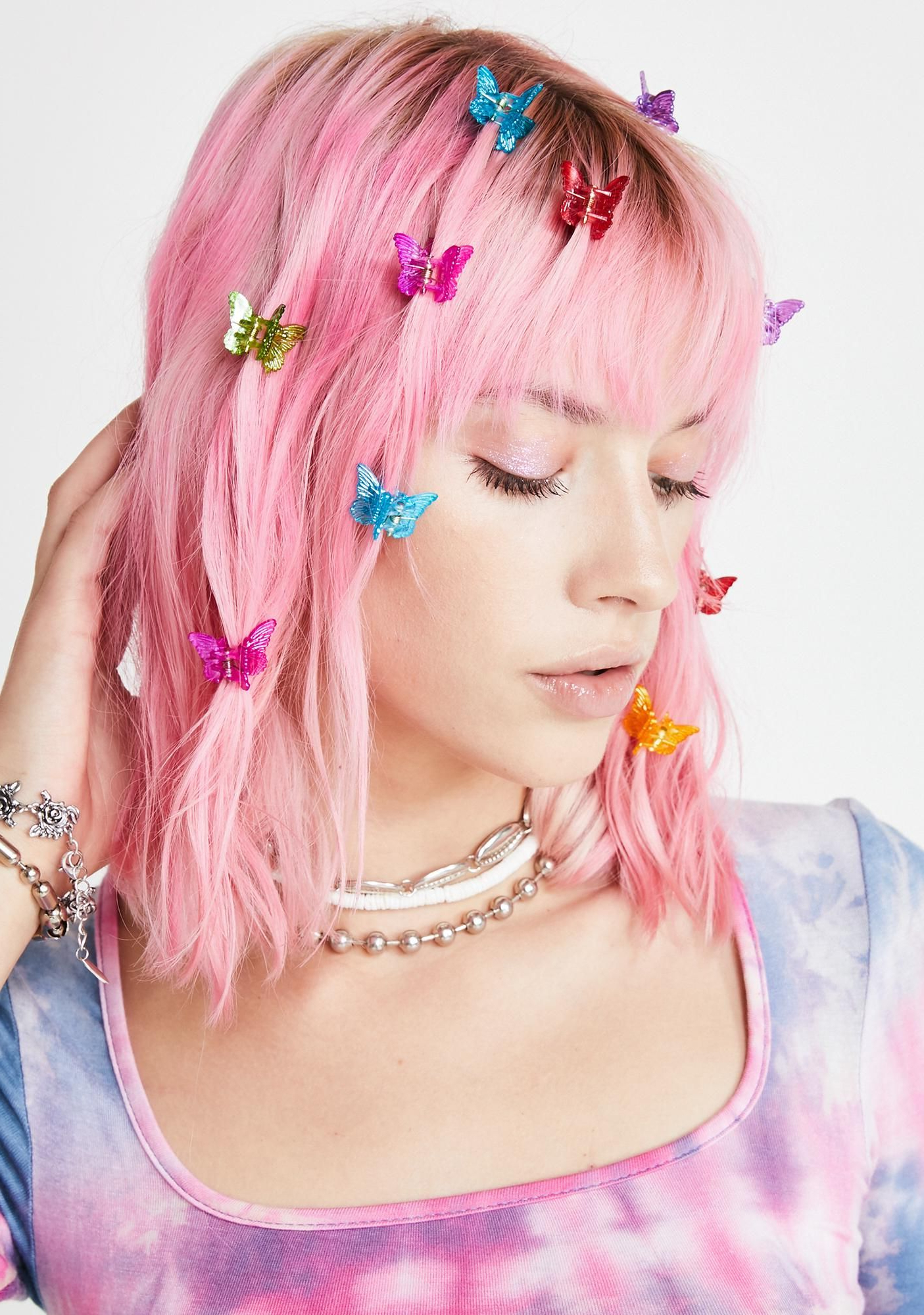 Famous Butterfly Clips Hairstyles Intended For Classic Rainbow Butterfly Clips (View 3 of 20)