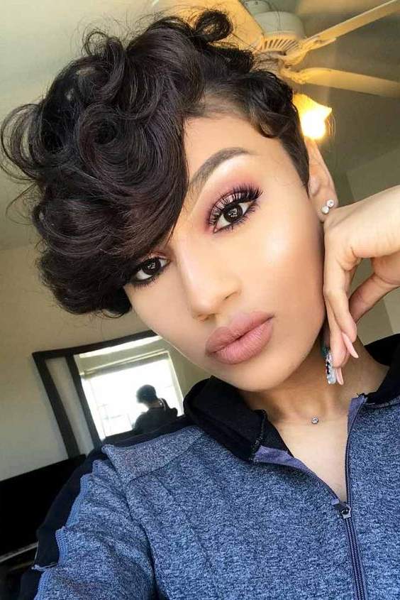 Famous Curly Pixie Hairstyles With Segmented Undercut Inside Voluminous Curly Pixie Cut – Short Haircut Styles  (View 1 of 20)
