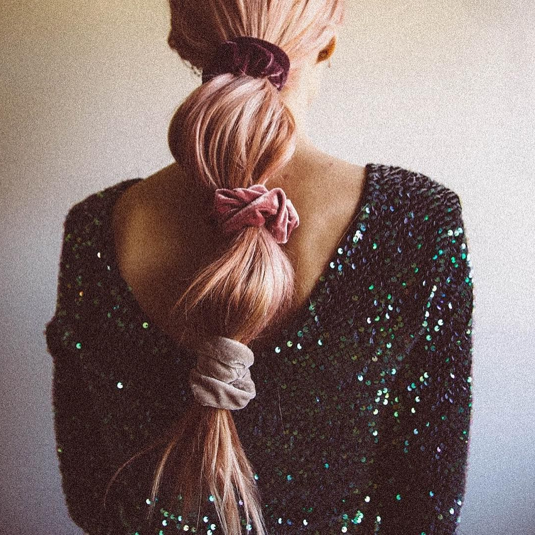 Famous Scrunchie Hairstyles With Custom Colored @bombshellext // Scrunchies Via (View 13 of 20)