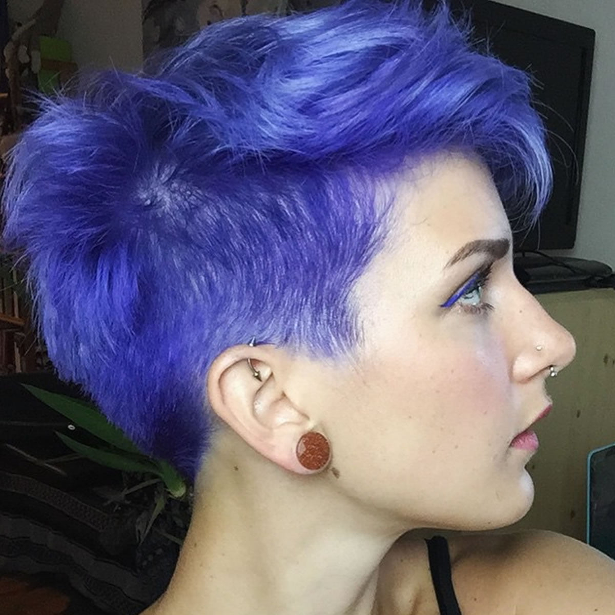 Famous Short Hairstyles With Blue Highlights And Undercut Within 2018 Blue Hair Color Hairstyles For Pretty Women – Page 4 Of  (View 2 of 20)