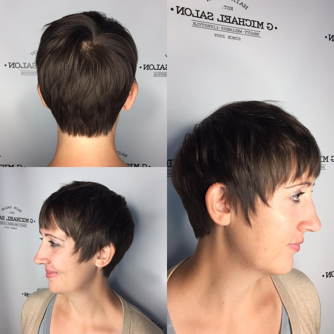 Famous Textured Haircuts With A Fringe And Face Framing With Regard To Brunette Textured Pixie With Fringe Bangs And Sideburns (View 10 of 20)