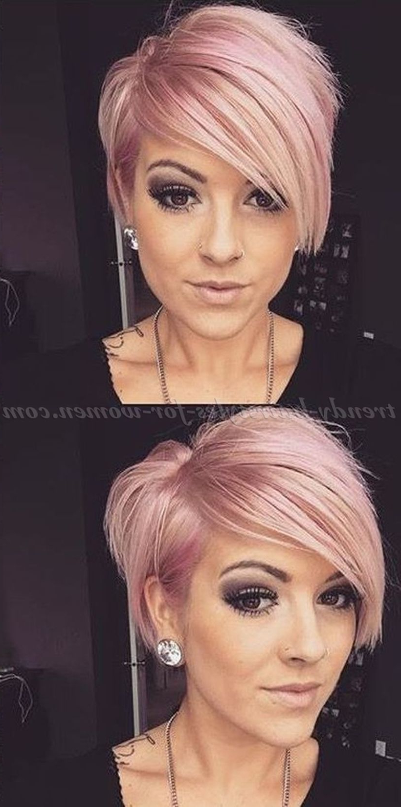 Funky Short Pixie Haircut With Long Bangs Ideas 1 Throughout Most Recent Edgy Undercut Pixie Hairstyles With Side Fringe (View 1 of 20)