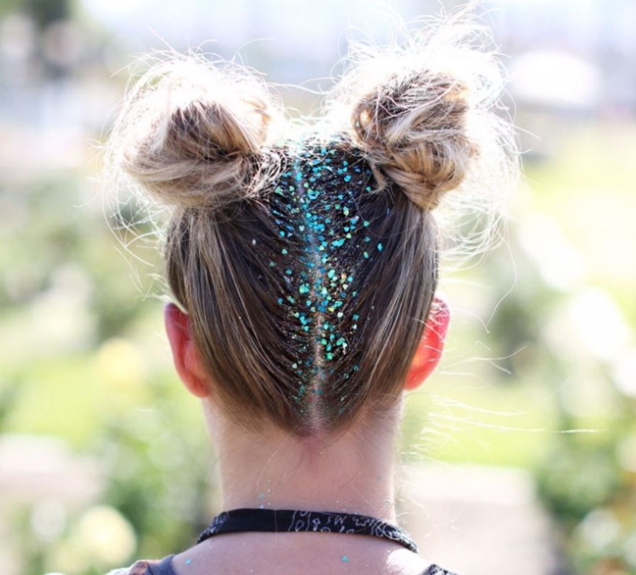 Glitter Roots Hair, Glitter Roots Regarding Well Liked Rave Buns Hairstyles (View 5 of 20)