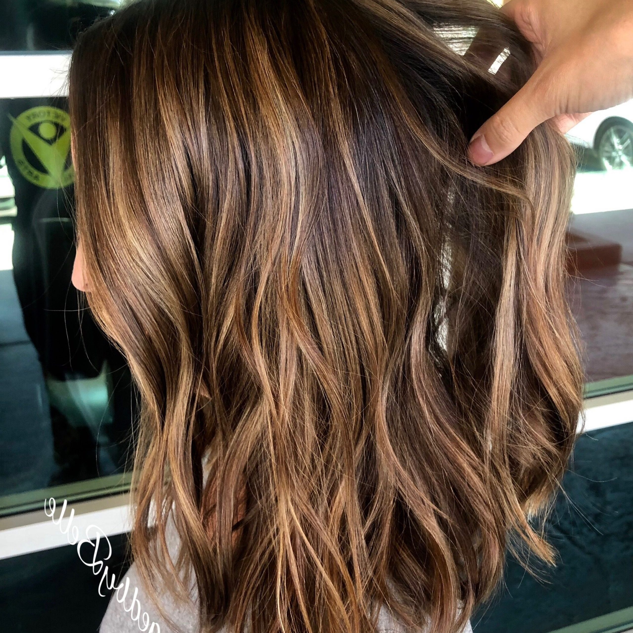 Golden Brown Balayage, Warm Brown Highlights, Brunette Lob Within Caramel Blonde Balayage On Inverted Lob Hairstyles (Gallery 8 of 20)