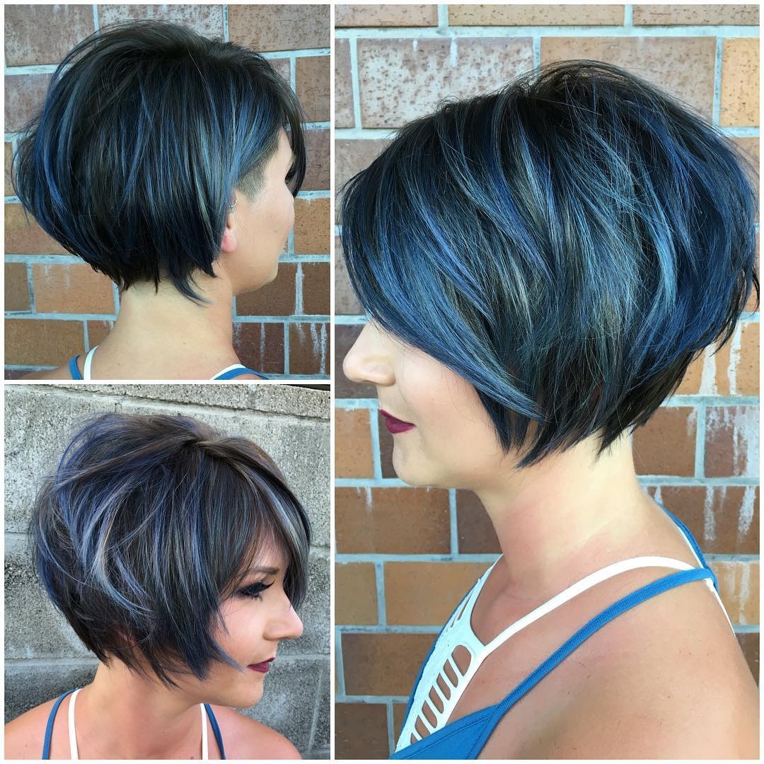 Graduated Messy Textured Bob With Side Swept Bangs And Icy For Newest Textured Haircuts With A Fringe And Face Framing (View 16 of 20)