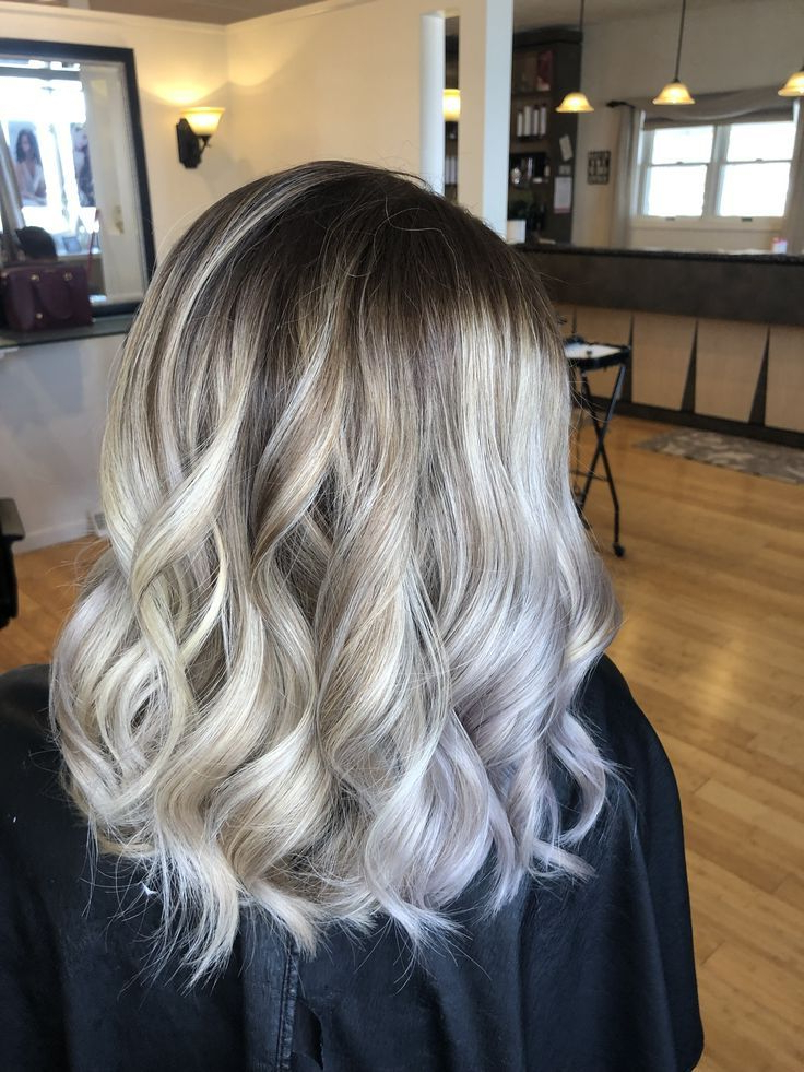 Icy Blonde Balayage With A Dark Root😍 | Icy Blonde Intended For Ash Blonde Balayage Ombre On Dark Hairstyles (View 6 of 20)