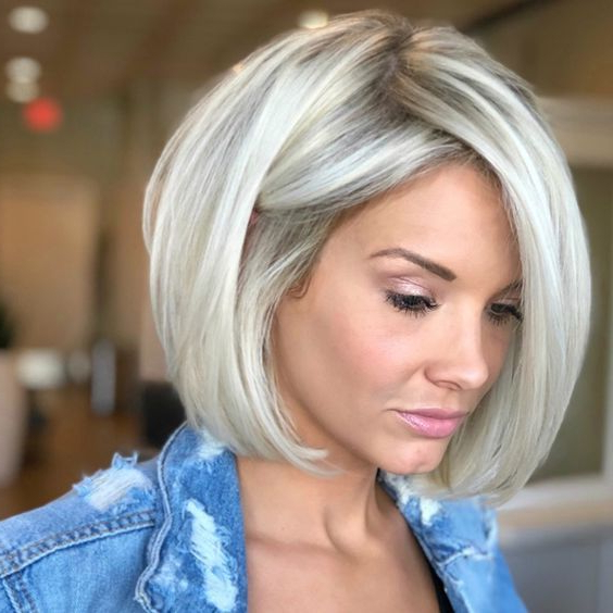 Icy Blonde Hair Color Ideas For Half Bob Half Pixie Hairstyles With Cool Blonde Balayage (View 4 of 20)