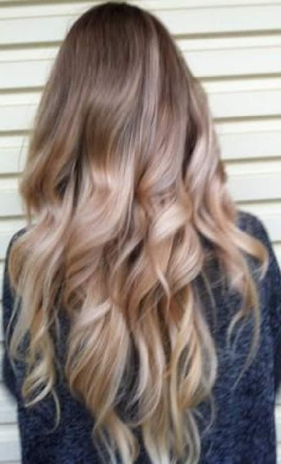 Items Similar To Ash Blonde And Gold Ombre Hair, Balayage Pertaining To Ash Blonde Balayage Ombre On Dark Hairstyles (View 18 of 20)