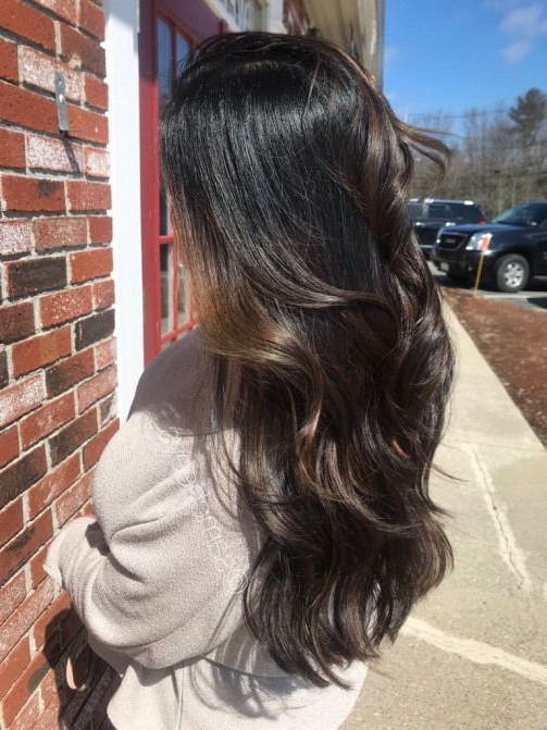 Jet Black Shadow Roots With Brown Balayage Highlights # Within Black Hairstyles With Brown Highlights (View 10 of 20)