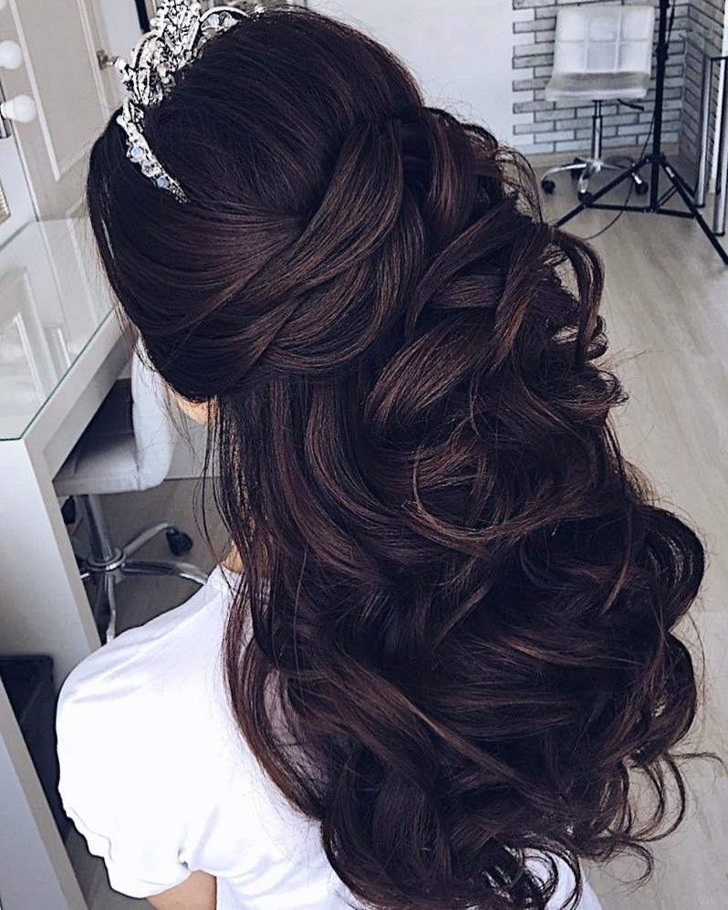 Latest Half Up Half Down Hairstyles With A Fringe Pertaining To Pin On Wedding Hair (View 16 of 20)