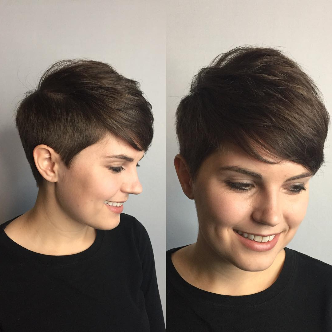 Latest Tapered Pixie Hairstyles With Extreme Undercut Intended For Polished Tapered Pixie With Voluminous Texture And Side (View 8 of 20)