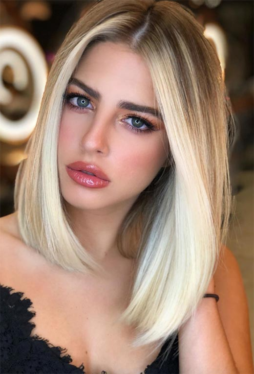 Lob Haircut Trend: 63 On Trend Long Bob Haircuts For Blunt Cut Blonde Balayage Bob Hairstyles (View 16 of 20)