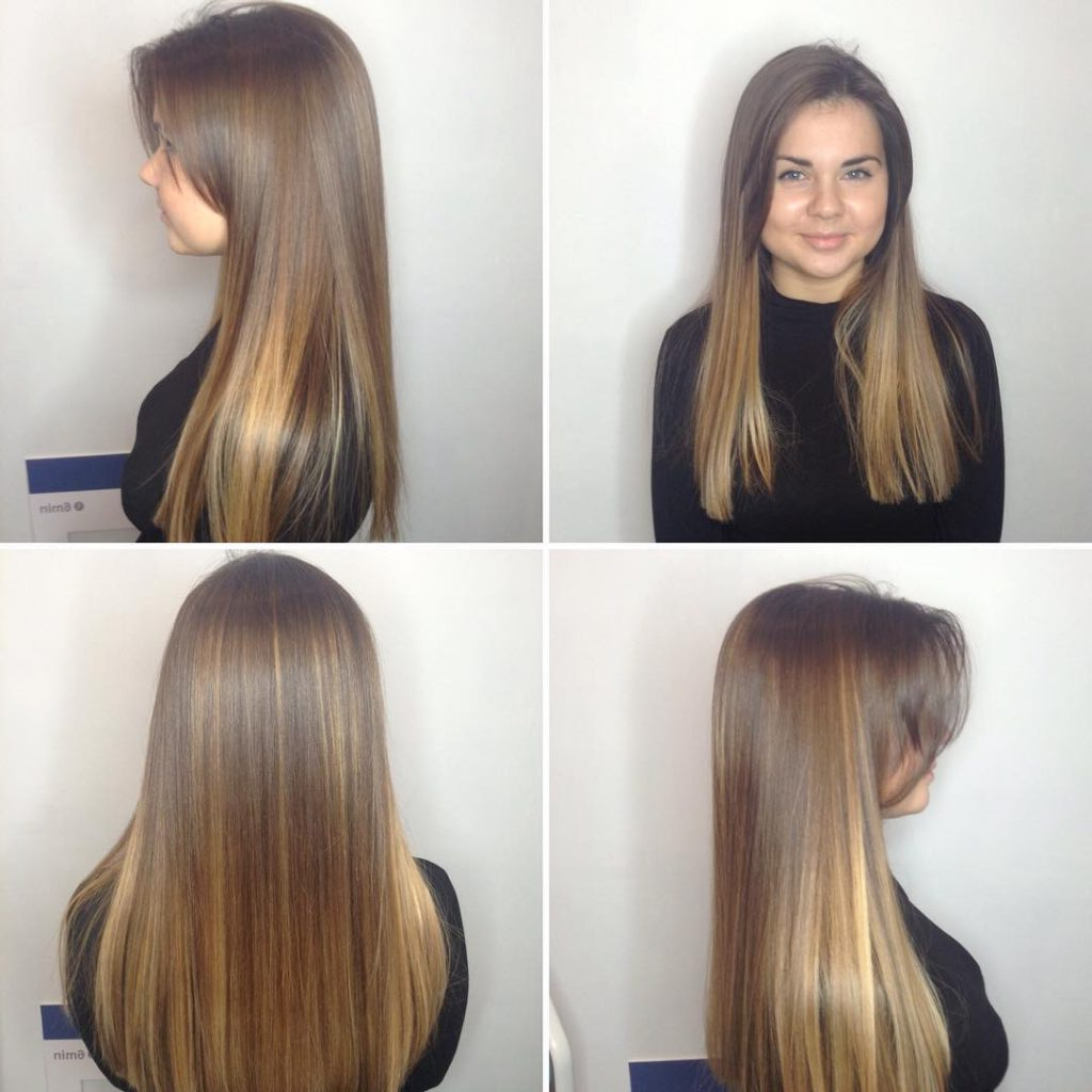Long Blunt Cut With Long Parted Bangs And Bronde Balayage Within Blunt Cut Blonde Balayage Bob Hairstyles (View 14 of 20)