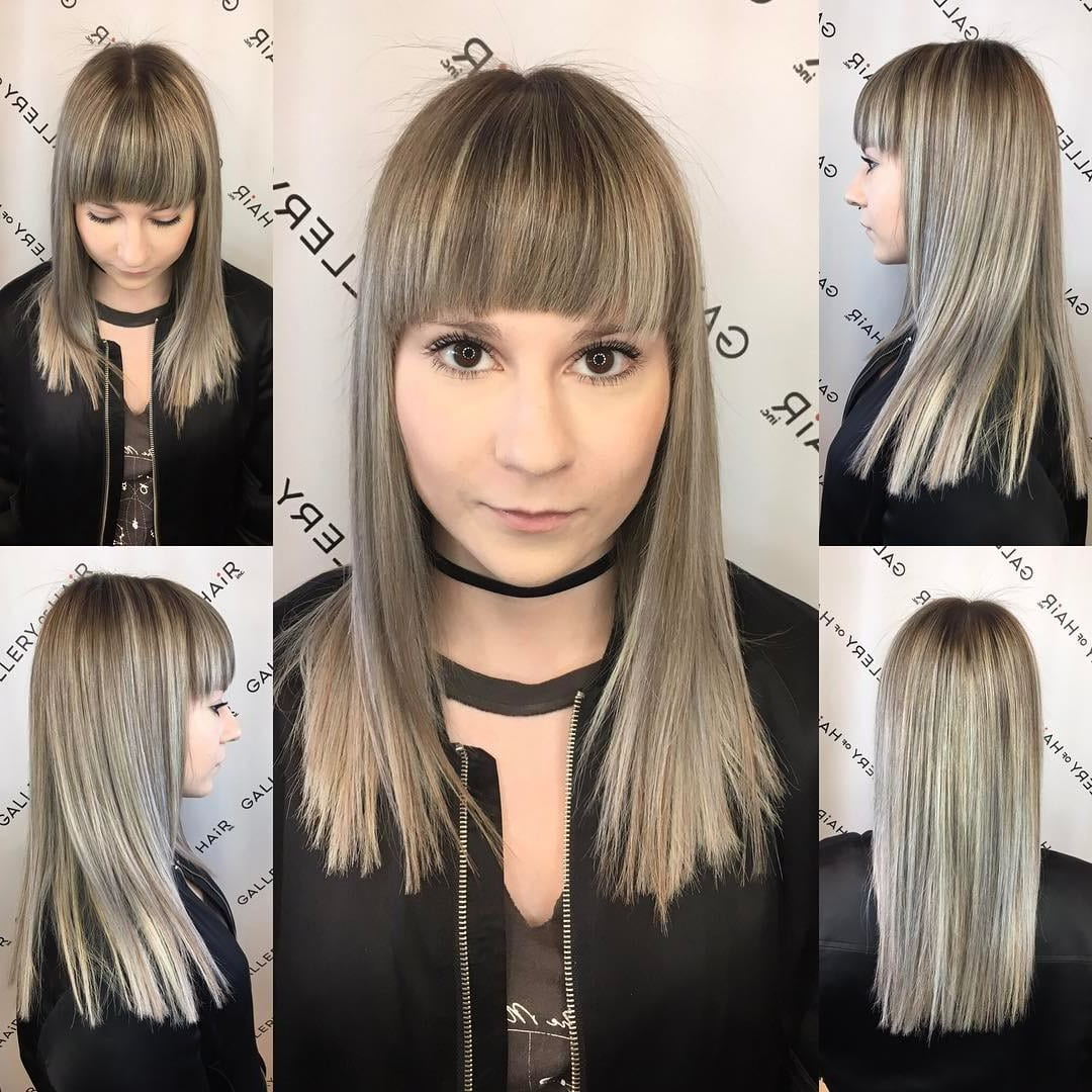 Long Blunt Cut With Textured Ends And Full Brow Skimming With Regard To Shaggy Bob Hairstyles With Blonde Balayage (View 2 of 20)