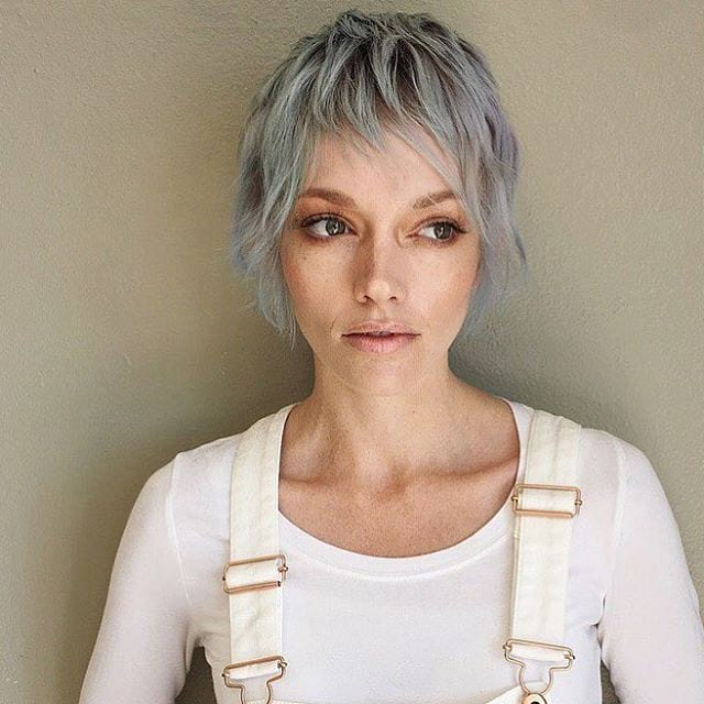 Long Silver Shaggy Pixie Cut With Choppy Bangs – The Throughout Current Short And Choppy Graduated Pixie Haircuts (View 6 of 20)