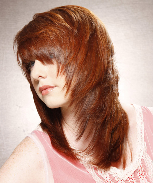 Long Straight Casual Hairstyle With Layered Bangs – Copper Regarding Well Liked Fiery Red 70s' Inspired Face Framing Layers Hairstyles (View 10 of 20)
