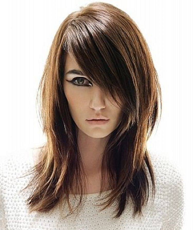 Long Straight Layered Hairstyles For Round Face With Side With Recent Long Layers And Face Framing Bangs Hairstyles (Gallery 3 of 20)