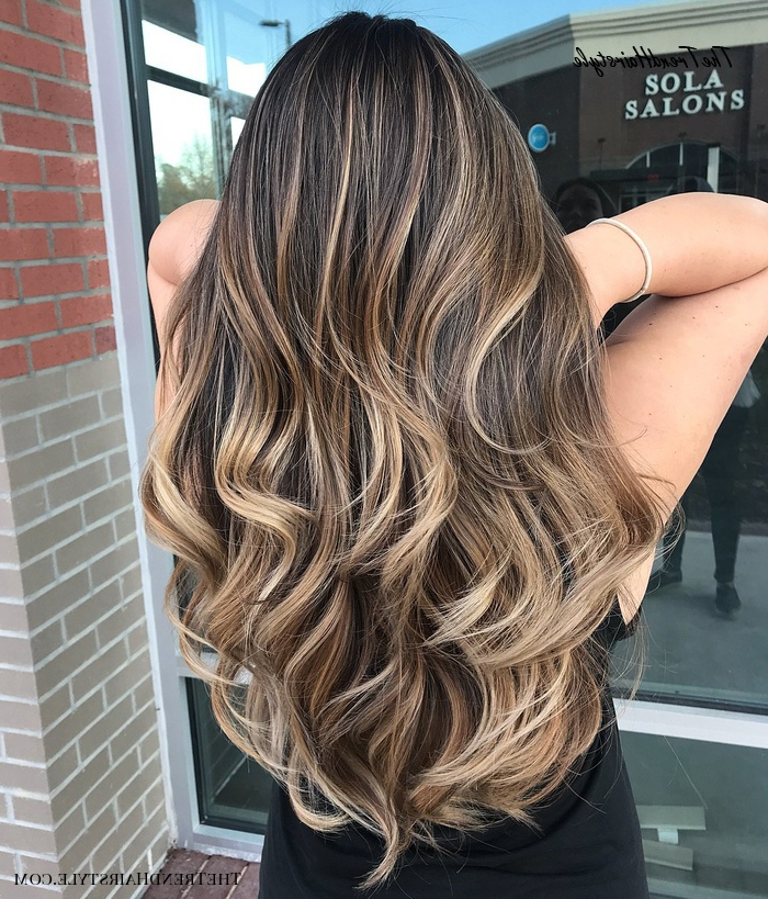 Long Thick Black Hair With Light Brown Balayage – 80 Cute Within Bronde Balayage For Short Layered Haircuts (View 13 of 20)