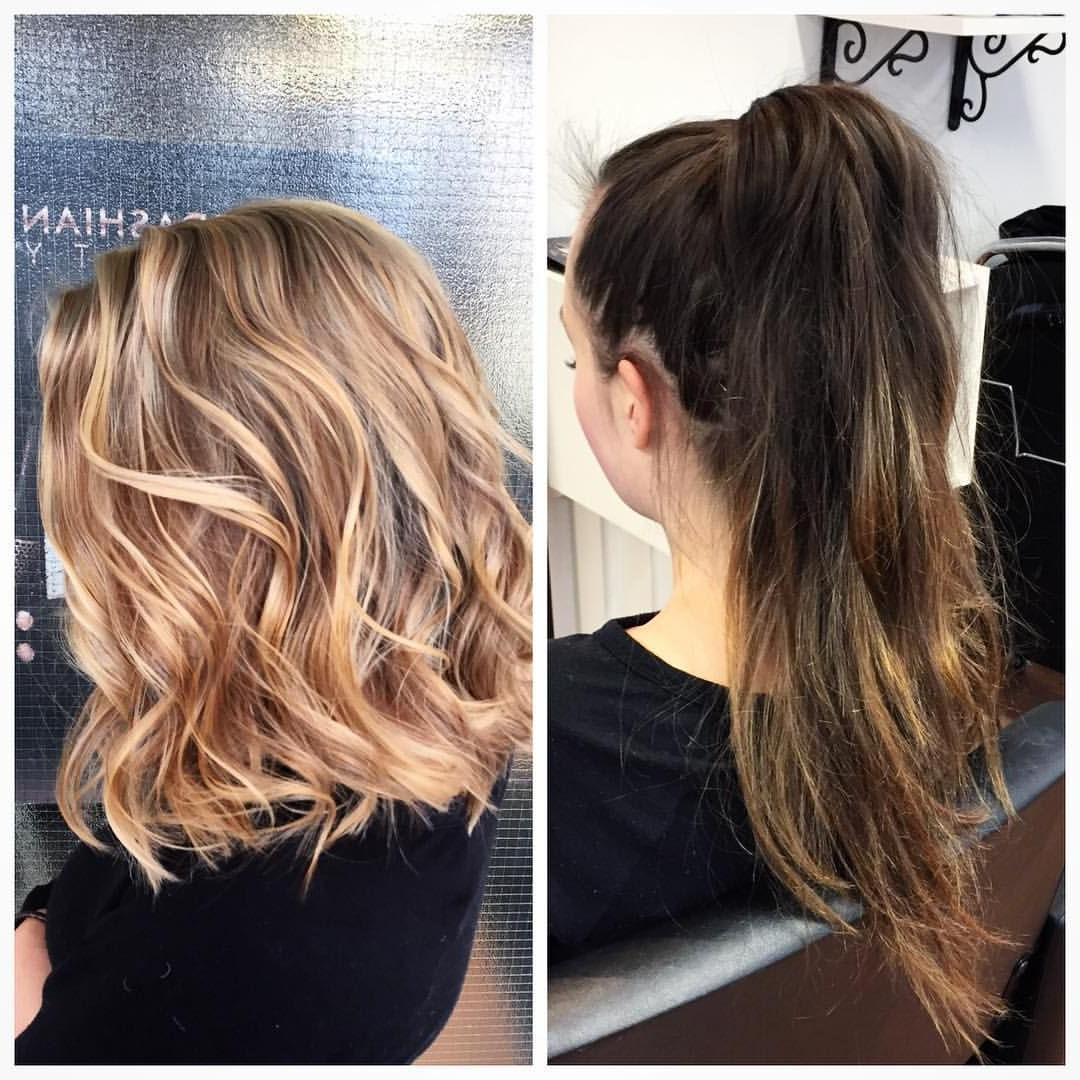 Makeover From Long Balayaged Brunette To Soft Caramel Pertaining To Caramel Blonde Balayage On Inverted Lob Hairstyles (View 3 of 20)