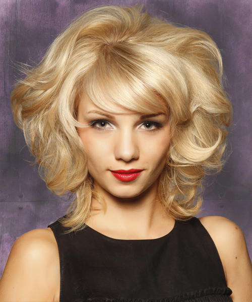 Medium Curly Layered Light Blonde Bob Haircut With Side Pertaining To White Blonde Curly Layered Bob Hairstyles (View 8 of 20)