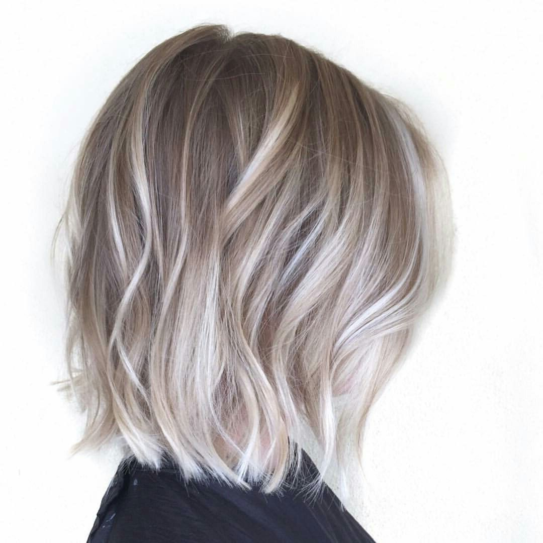 Medium Length Ash Blonde   Bob Haircut For Fine Hair Inside Ash Blonde Balayage For Short Stacked Bob Hairstyles (View 2 of 20)