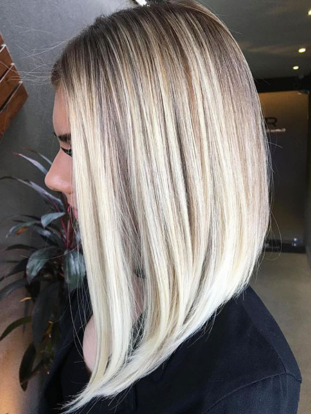 Medium Length Blonde Hairstyles Archives – Blonde Pertaining To Blunt Cut Blonde Balayage Bob Hairstyles (View 15 of 20)