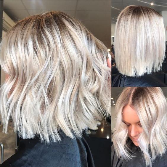 Medium Length Haircuts, Short Hairstyles, Blonde Bob, Ash Inside Ash Blonde Balayage For Short Stacked Bob Hairstyles (View 8 of 20)