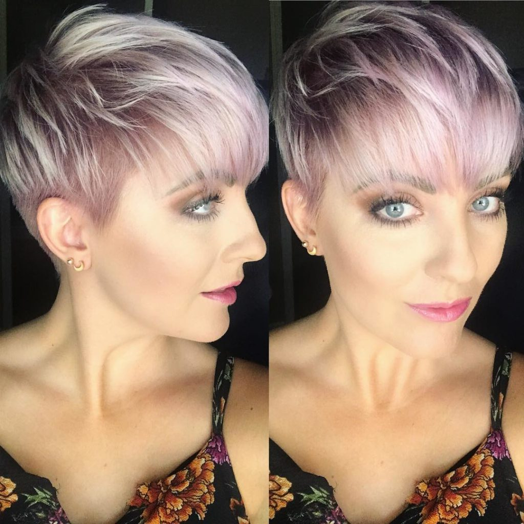 Messy Icy Pink Textured Pixie With Feathered Bangs – The Throughout Favorite Short Messy Bangs Hairstyles (View 10 of 20)