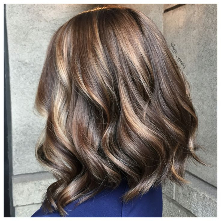"""Milk Chocolate And Caramel Balayage And Long Bob """"lob Intended For Caramel Blonde Balayage On Inverted Lob Hairstyles (View 2 of 20)"""