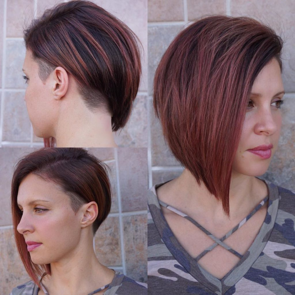 Modern Asymmetrical Undercut Bob With Burgundy Color – The Pertaining To Most Recent Pixie Hairstyles With Sleek Undercut (View 10 of 20)