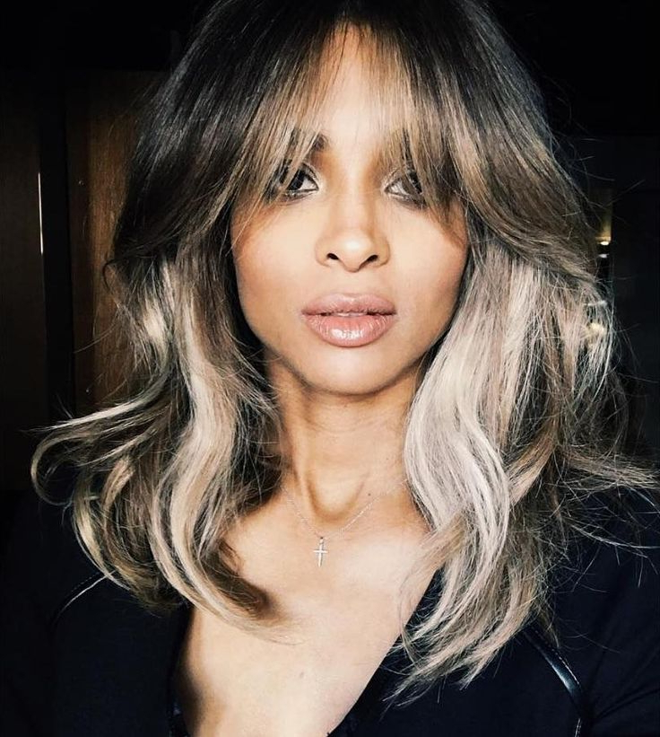 Most Current Lob Hairstyles With A Face Framing Fringe In Best 25+ Highlighted Bangs Ideas On Pinterest (View 4 of 20)
