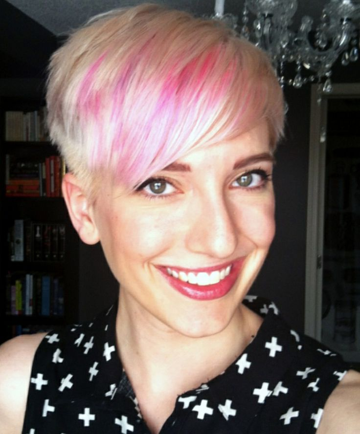 Most Current Platinum Blonde Pixie Hairstyles With Long Bangs With Pink Bangs On A Platinum Pixie (View 2 of 20)