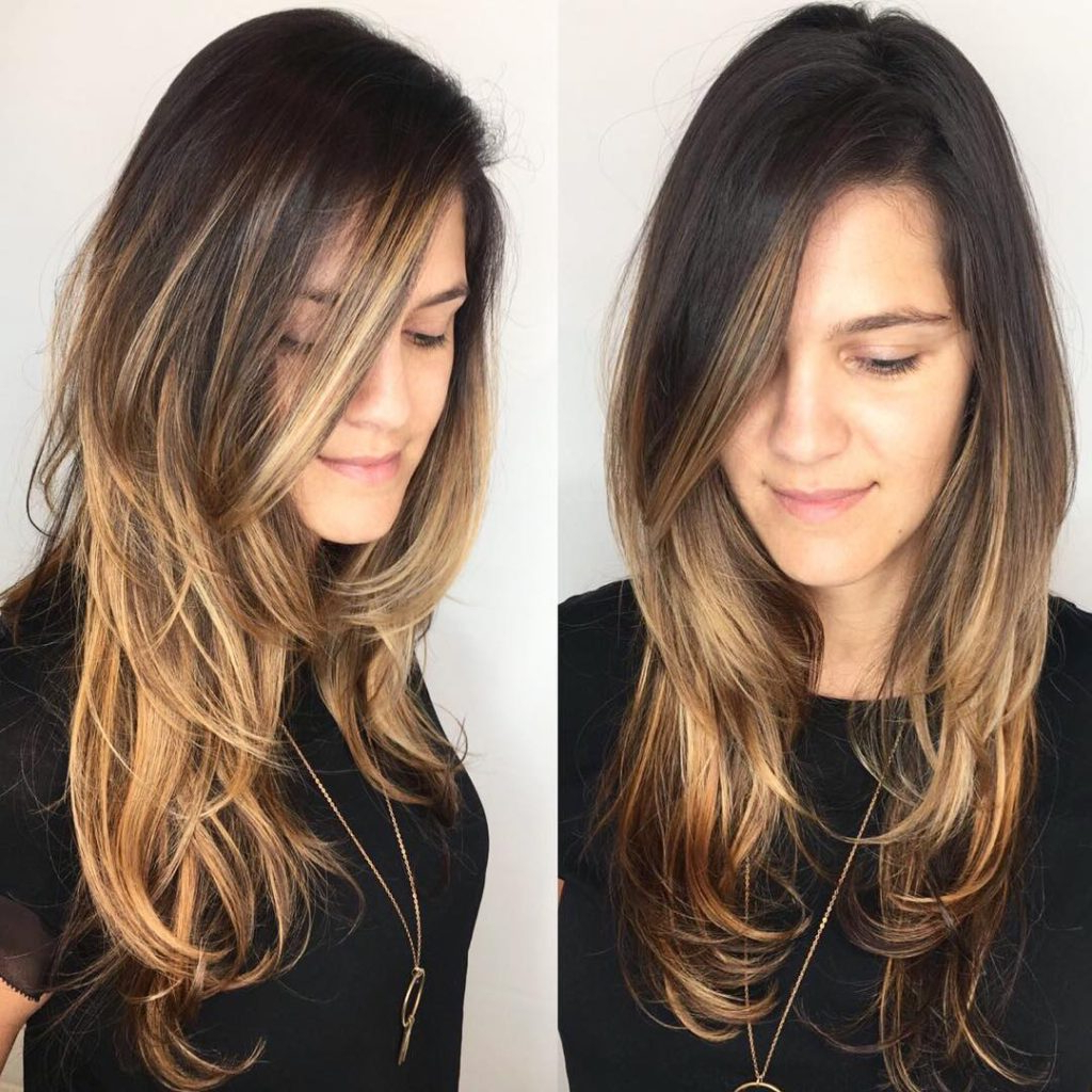Most Recent Lob Hairstyles With Face Framing Layers In Side Parted Shaggy Razor Cut With Face Framing Layers And (View 8 of 20)