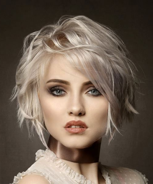 Most Recent Platinum Blonde Pixie Hairstyles With Long Bangs Throughout Short Wavy Light Platinum Blonde Bob Haircut With Side (View 4 of 20)
