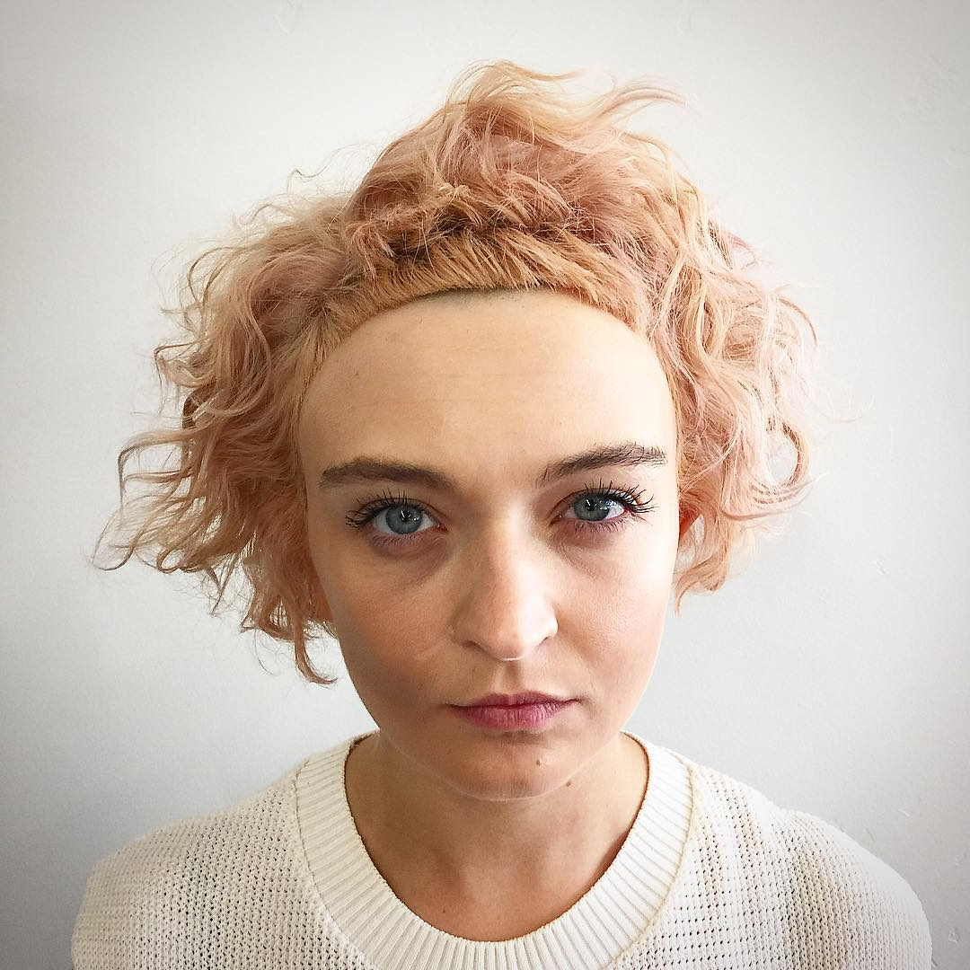 Most Recent Textured Haircuts With A Fringe And Face Framing For Soft Rose Gold Bob With Undone Curly Fringe And Micro (View 9 of 20)