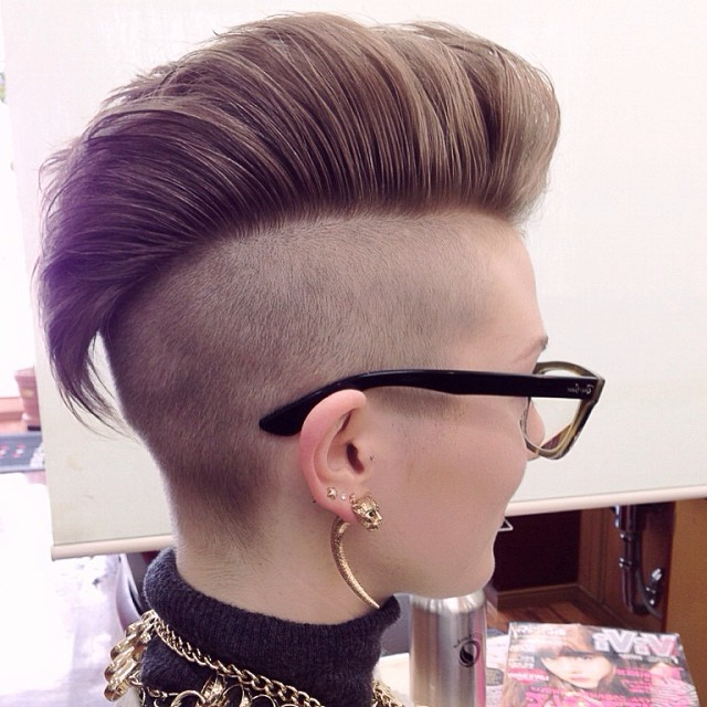 Most Up To Date Coral Mohawk Hairstyles With Undercut Design With Regard To Undercut Hairstyles For Women (View 16 of 20)