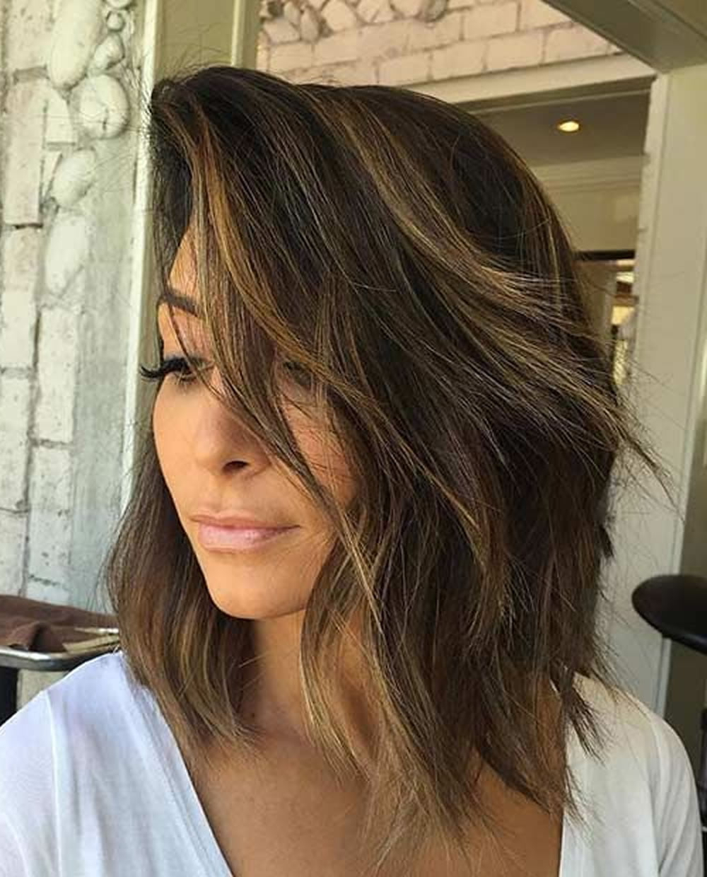 Most Up To Date Lob Hairstyles With A Face Framing Fringe With 25 Layered Long Bob Hairstyles And Lob Haircuts (View 14 of 20)