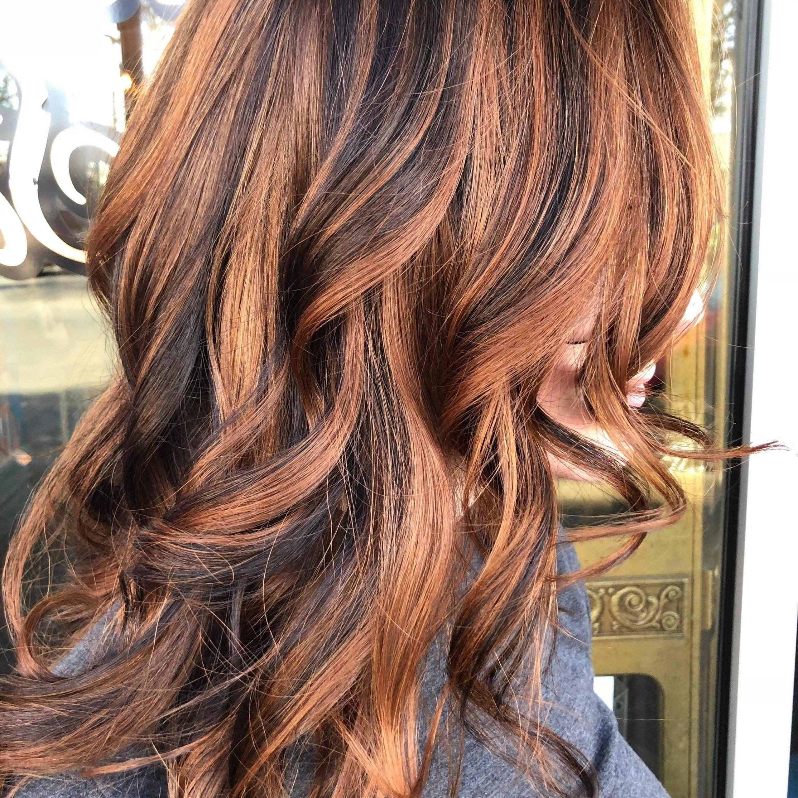 Natural Redhead With Dark Brown Lowlight Balayage Within Natural Looking Dark Blonde Balayage Hairstyles (View 10 of 20)