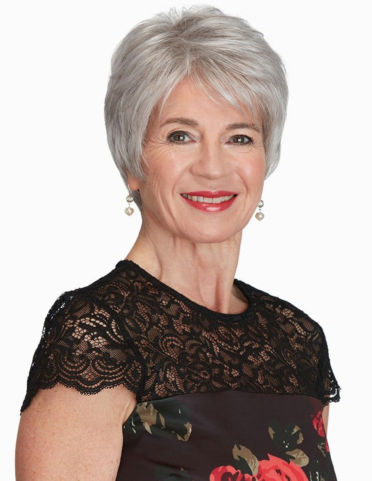 Newest Gray Short Pixie Cuts Regarding Short Pixie Cut Grey Wig For Older Ladies – Rewigs (View 15 of 20)