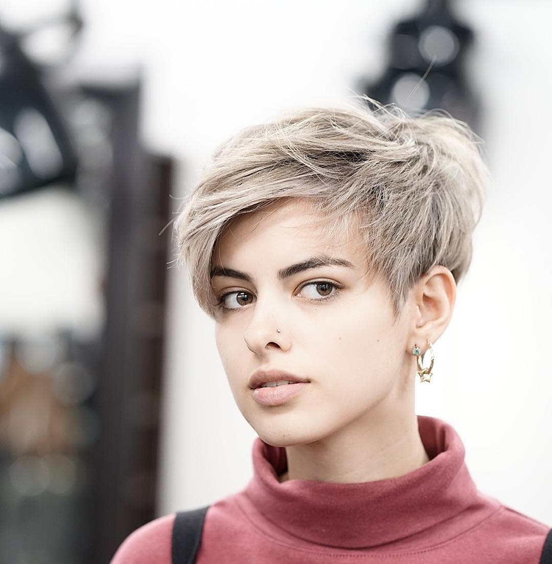 Newest Short Messy Bangs Hairstyles Inside Messy Feathered Pixie With Side Swept Bangs – The Latest (View 5 of 20)