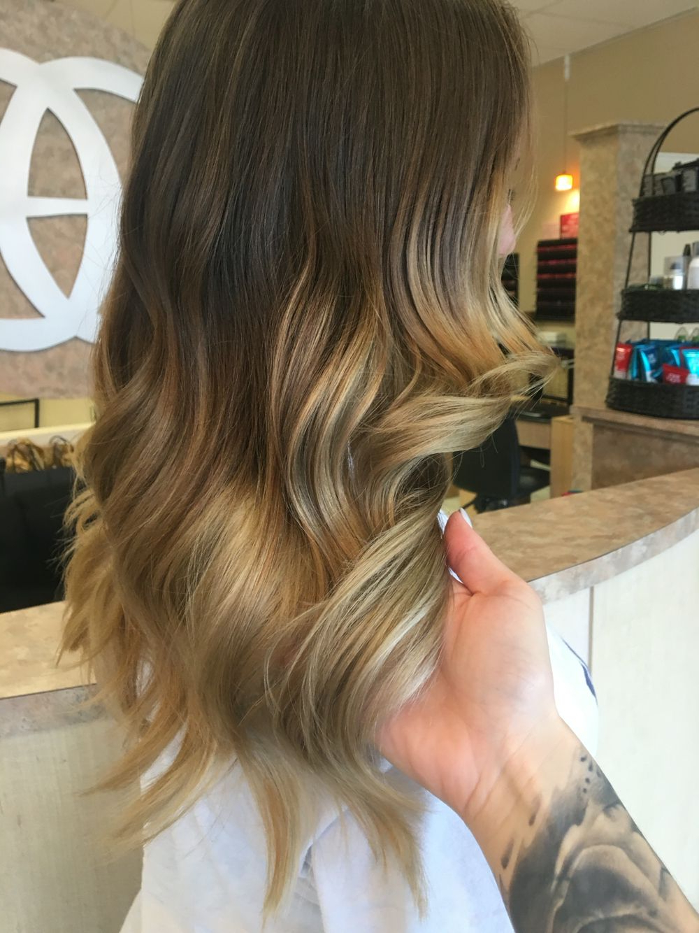 Ombré Hair Long Dark Roots Brunette Blonde Tips Golden Ash In Ash Blonde Balayage Ombre On Dark Hairstyles (View 8 of 20)