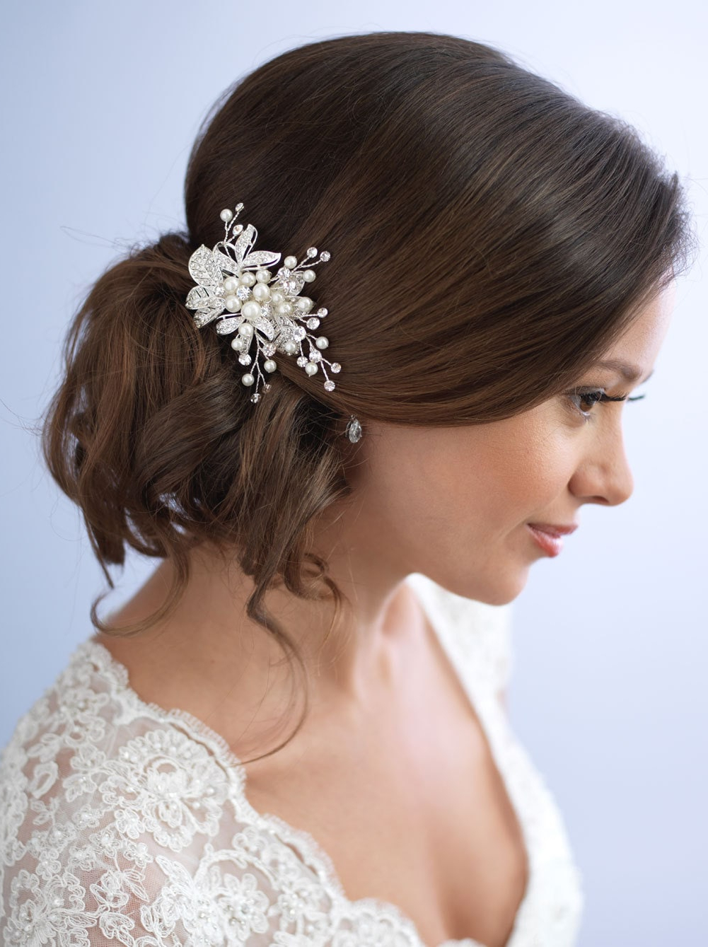 Pearl Hair Clip Rhinestone Bridal Hair Clip Floral Wedding Regarding Widely Used Clip Hairstyles (View 17 of 20)