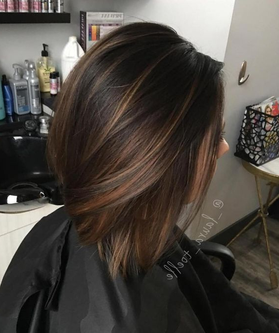 Picture Of Chocolate Brown Straight Bob With Light Caramel Within Subtle Balayage Highlights For Short Hairstyles (View 15 of 20)