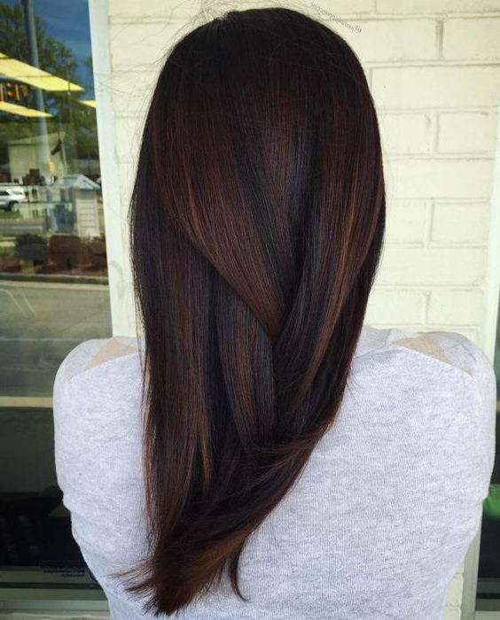 Picture Of Dark Brown Hair With Subtle Highlights Regarding Black Hairstyles With Brown Highlights (View 16 of 20)