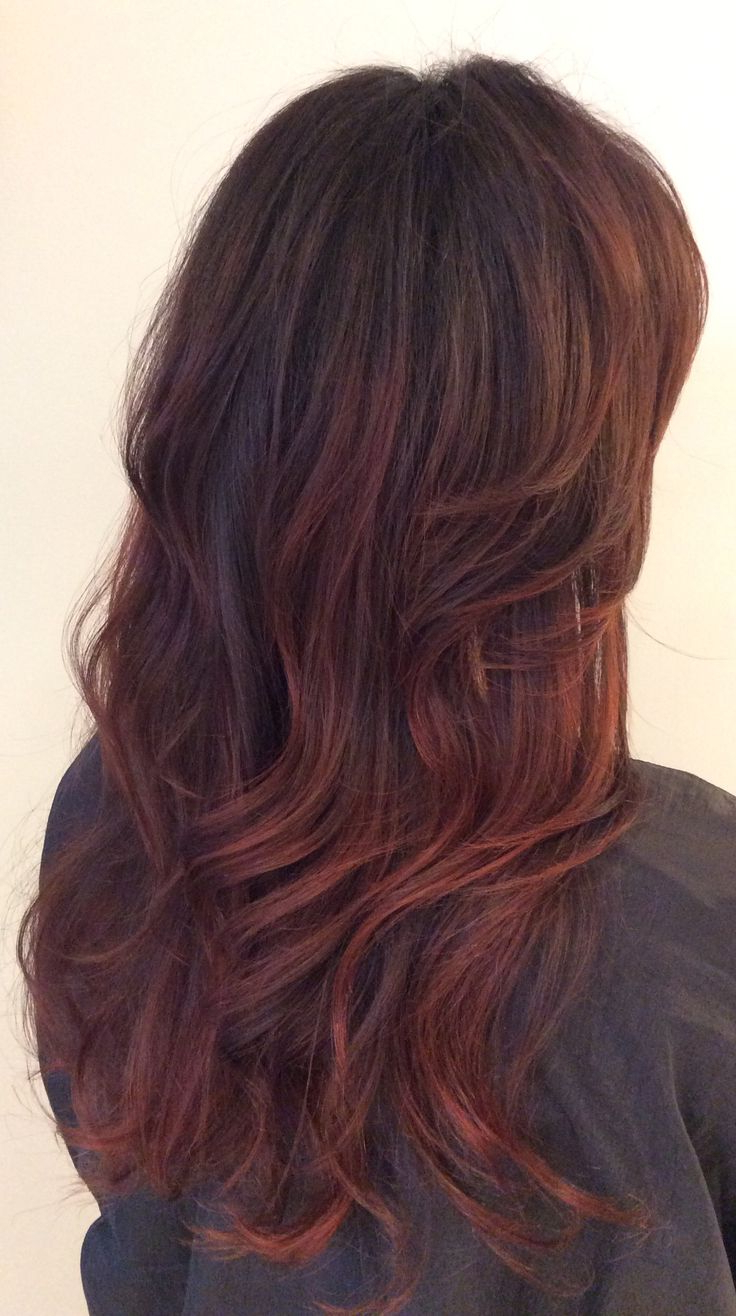 Featured Photo of Dimensional Dark Roots To Red Ends Balayage Hairstyles